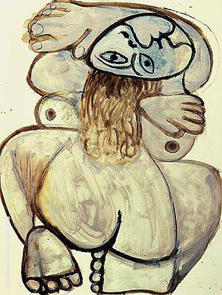 Squatting Nude 1971 By Pablo Picasso - Oil Paintings & Art Reproductions - Reproduction Gallery