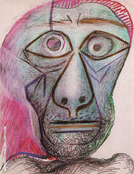 Self Portrait Head 1972 By Pablo Picasso - Oil Paintings & Art Reproductions - Reproduction Gallery