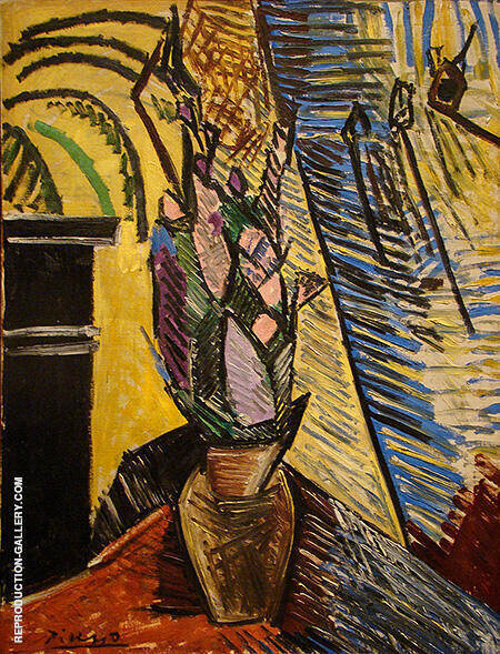 Vase with Flowers 1907 By Pablo Picasso - Oil Paintings & Art Reproductions - Reproduction Gallery