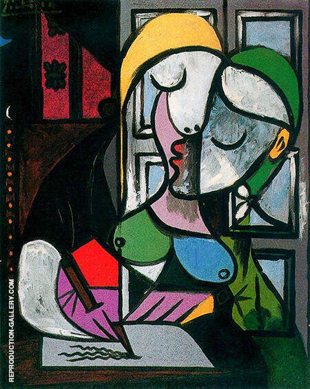 Woman Writing 1934 By Pablo Picasso - Oil Paintings & Art Reproductions - Reproduction Gallery