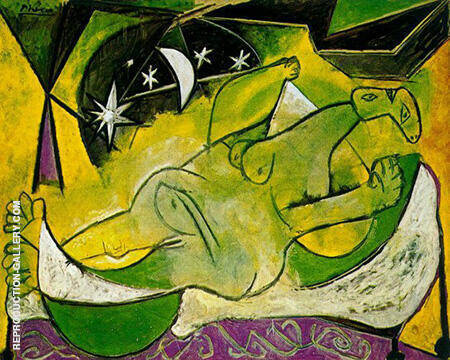 Reclining Female Nude with Starry Sky 1936 By Pablo Picasso - Oil Paintings & Art Reproductions - Reproduction Gallery