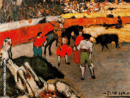 Reproduction of Bullfighting Scene Corrida 1901 by Pablo Picasso | Oil Painting Replica On CanvasReproduction Gallery
