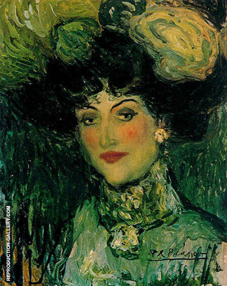 Woman with an Elaborate Coiffure The Plumed Hat 1901 By Pablo Picasso - Oil Paintings & Art Reproductions - Reproduction Gallery
