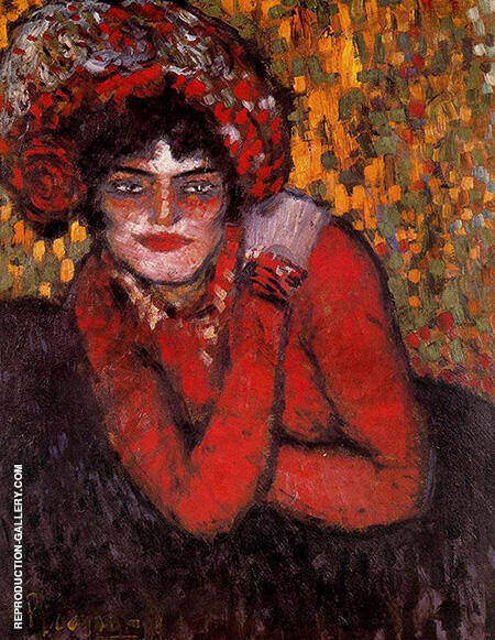Pierreuse with Her Hand On Her Shoulder 1901 By Pablo Picasso - Oil Paintings & Art Reproductions - Reproduction Gallery