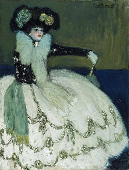 Lady in Blue 1901 By Pablo Picasso - Oil Paintings & Art Reproductions - Reproduction Gallery