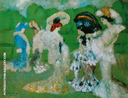 Woman Chatting at the Races 1901 By Pablo Picasso - Oil Paintings & Art Reproductions - Reproduction Gallery