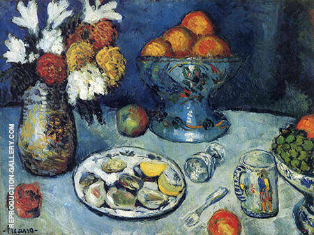 Still Life The Dessert 1901 By Pablo Picasso - Oil Paintings & Art Reproductions - Reproduction Gallery