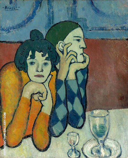 The Two Saltimbanques Harlequin and His Companion 1901 By Pablo Picasso - Oil Paintings & Art Reproductions - Reproduction Gallery