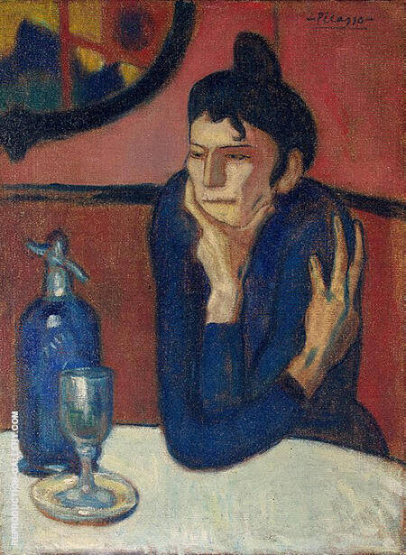 The Absinthe Drinker 85 1901 By Pablo Picasso - Oil Paintings & Art Reproductions - Reproduction Gallery