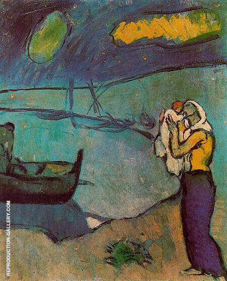 Mother and Son on the Seashore 1902 By Pablo Picasso - Oil Paintings & Art Reproductions - Reproduction Gallery