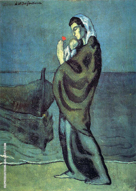 Mother and Child on the Seashore 1902 By Pablo Picasso