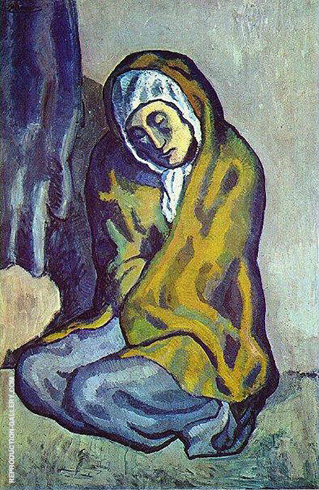 Crouching beggar 1902 By Pablo Picasso - Oil Paintings & Art Reproductions - Reproduction Gallery