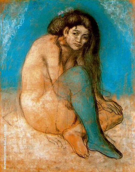 Nude with Crossed Legs 1903 By Pablo Picasso - Oil Paintings & Art Reproductions - Reproduction Gallery