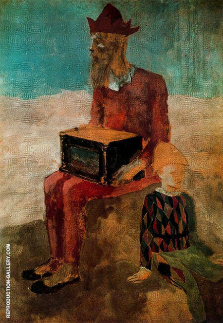 Hurdy gurdy Player and Young Harlequin 1905 By Pablo Picasso - Oil Paintings & Art Reproductions - Reproduction Gallery