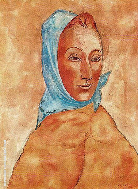 Portrait of Fernande Olivier with a Kerchief on her Head 1906 By Pablo Picasso - Oil Paintings & Art Reproductions - Reproduction Gallery
