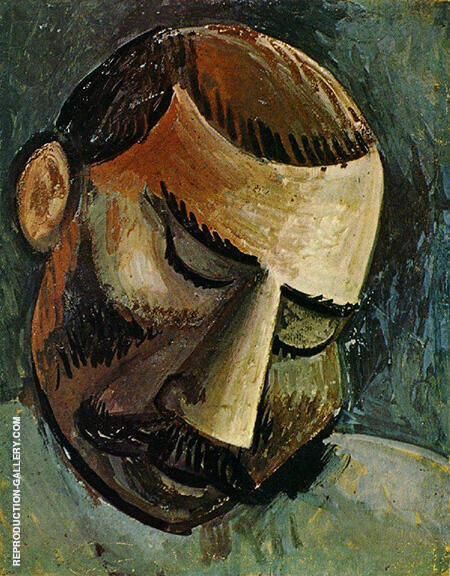 Head of a Man B 1908 By Pablo Picasso - Oil Paintings & Art Reproductions - Reproduction Gallery