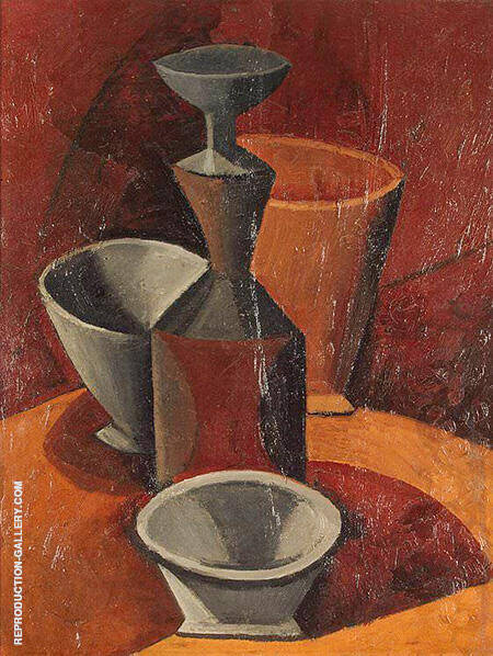 Pitcher and Three Bowls 1908 By Pablo Picasso - Oil Paintings & Art Reproductions - Reproduction Gallery