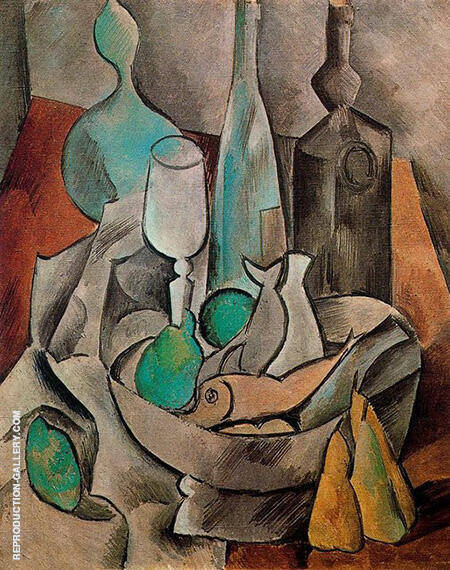 Still Life with Fishes and Bottles 1909 By Pablo Picasso - Oil Paintings & Art Reproductions - Reproduction Gallery
