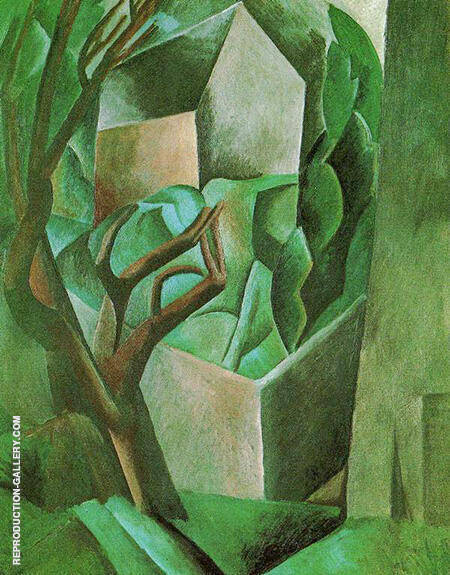 House in a Garden House and Trees 1908 By Pablo Picasso - Oil Paintings & Art Reproductions - Reproduction Gallery
