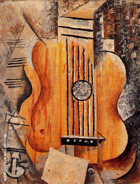 Guitar I love Eve 1912 By Pablo Picasso - Oil Paintings & Art Reproductions - Reproduction Gallery