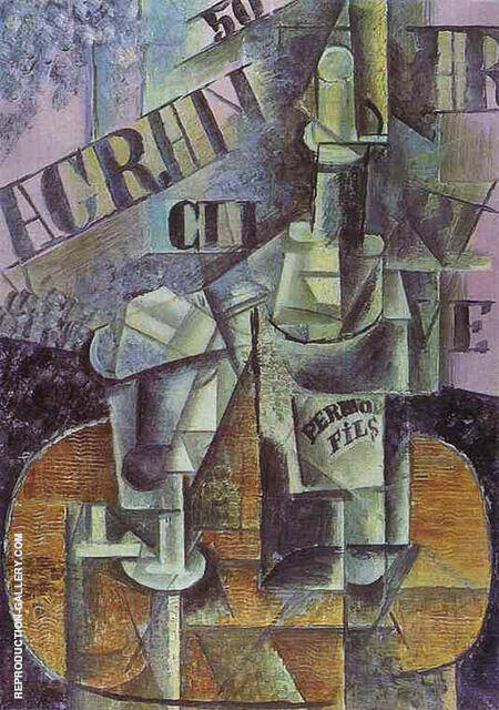 Bottle of Pernod and Glass 1912 By Pablo Picasso - Oil Paintings & Art Reproductions - Reproduction Gallery
