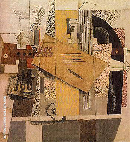Bottle of Bass Clarinet Guitar Newspaper Ace of Clubs 1913 By Pablo Picasso - Oil Paintings & Art Reproductions - Reproduction Gallery