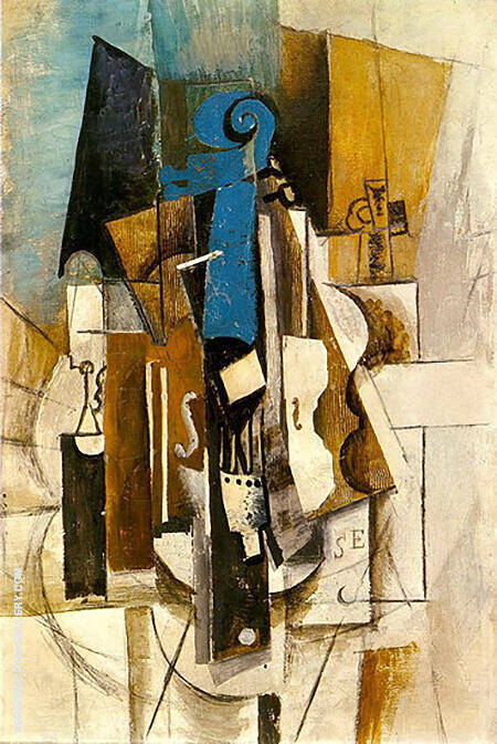Reproduction of Violin at a Cafe 1913 by Pablo Picasso | Oil Painting Replica On CanvasReproduction Gallery