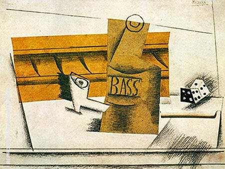 Pipe Bottle of Bass Dice 1914 By Pablo Picasso - Oil Paintings & Art Reproductions - Reproduction Gallery