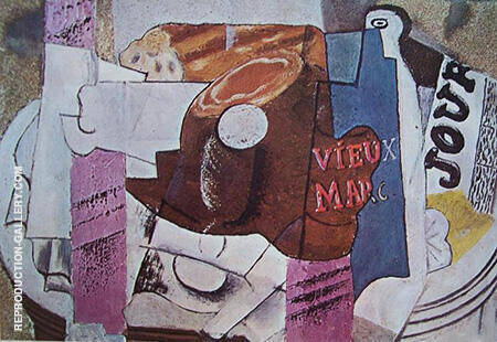 Ham Glass Bottle of Vieux Marc Newspaper 1914 By Pablo Picasso - Oil Paintings & Art Reproductions - Reproduction Gallery