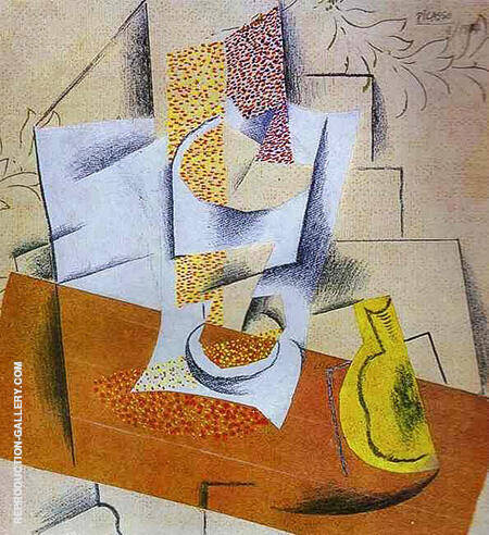 Glass and Sliced Pear on a Table 1914 By Pablo Picasso