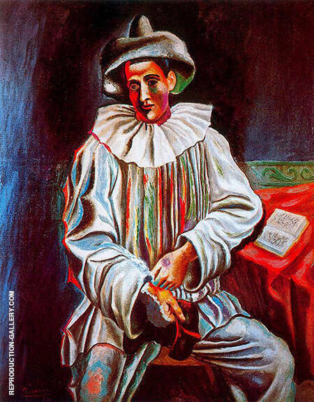 Pierrot with a Mask 1918 By Pablo Picasso - Oil Paintings & Art Reproductions - Reproduction Gallery