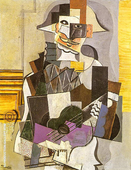 Harlequin Playing at a Guitar 1918 By Pablo Picasso - Oil Paintings & Art Reproductions - Reproduction Gallery