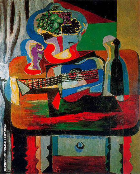 Reproduction of Guitar Bottle Fruit Dish and Glass on a Table 1919 by Pablo Picasso | Oil Painting Replica On CanvasReproduction Gallery