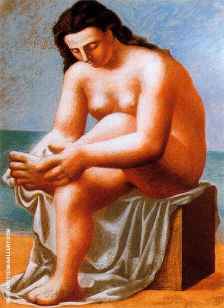 Seated Nude Drying Her Foot 1921 By Pablo Picasso - Oil Paintings & Art Reproductions - Reproduction Gallery
