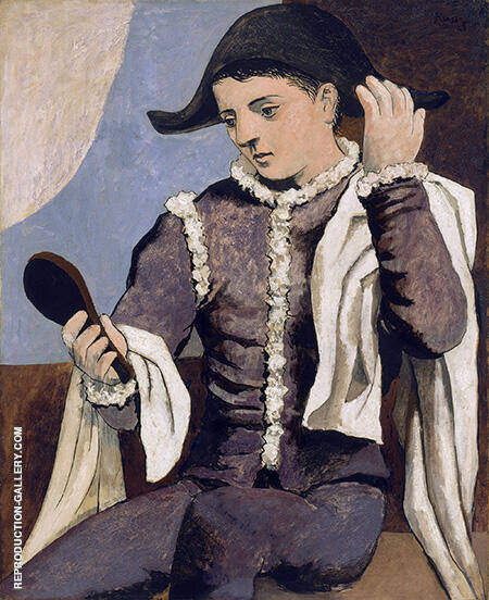Harlequin with a Mirror 1923 By Pablo Picasso - Oil Paintings & Art Reproductions - Reproduction Gallery