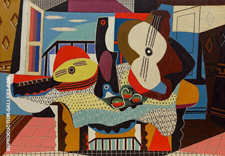 Reproduction of Mandolin and Guitar 1924 by Pablo Picasso | Oil Painting Replica On CanvasReproduction Gallery