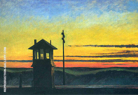 Railroad Sunset Painting By Edward Hopper - Reproduction Gallery