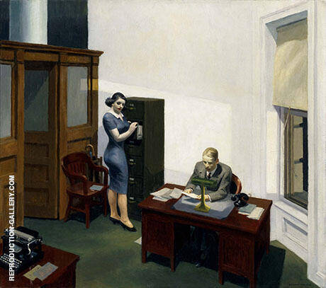 Office at Night 1940 By Edward Hopper - Oil Paintings & Art Reproductions - Reproduction Gallery