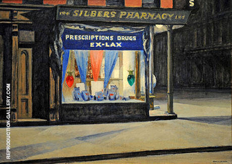 Drug Store 1927 Painting By Edward Hopper - Reproduction Gallery