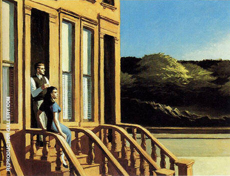 Reproduction of Sunlight on Brownstones 1956 by Edward Hopper | Oil Painting Replica On CanvasReproduction Gallery