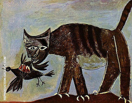 Cat Catching a Bird 1939 By Pablo Picasso - Oil Paintings & Art Reproductions - Reproduction Gallery