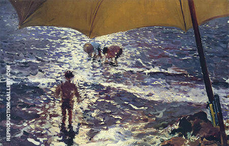 Midday at Valencia Beach By Joaquin Sorolla - Oil Paintings & Art Reproductions - Reproduction Gallery