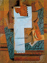 Compotier with Bunch of Grapes and Cut Pear 1914 By Pablo Picasso