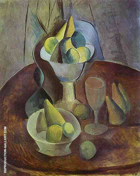 Compotier Fruit and Glass 1909 By Pablo Picasso - Oil Paintings & Art Reproductions - Reproduction Gallery