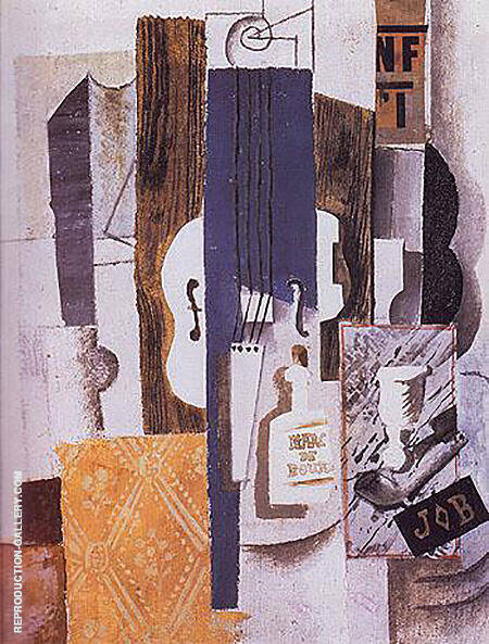 Violin Bottle and Glass 1913 By Pablo Picasso