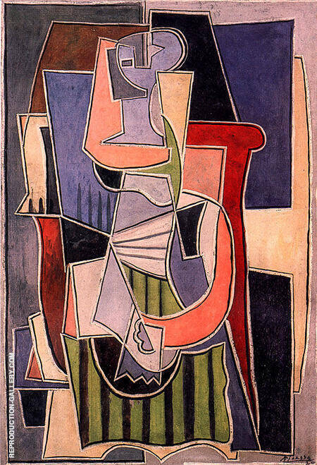 Woman Sitting on a Couch 1920 By Pablo Picasso - Oil Paintings & Art Reproductions - Reproduction Gallery