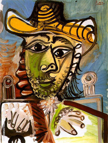 Man in an Armchair 1965 By Pablo Picasso - Oil Paintings & Art Reproductions - Reproduction Gallery