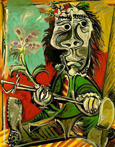 Reproduction of Seated Man with Sword and Flower 1969 by Pablo Picasso | Oil Painting Replica On CanvasReproduction Gallery
