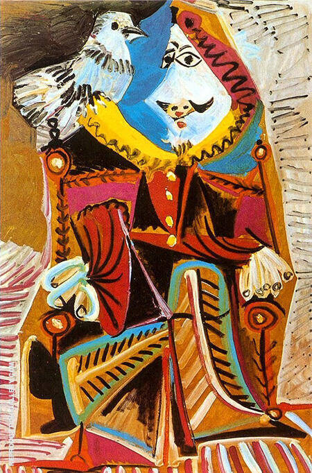 Reproduction of Musketeer with Dove 1969 by Pablo Picasso | Oil Painting Replica On CanvasReproduction Gallery