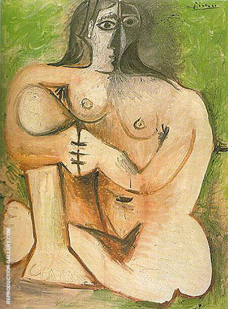Seated Nude Against Green Background 1960 By Pablo Picasso - Oil Paintings & Art Reproductions - Reproduction Gallery